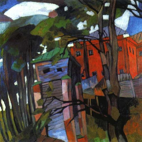 Landscape with a red house, 1917 - Aristarch Wassiljewitsch Lentulow