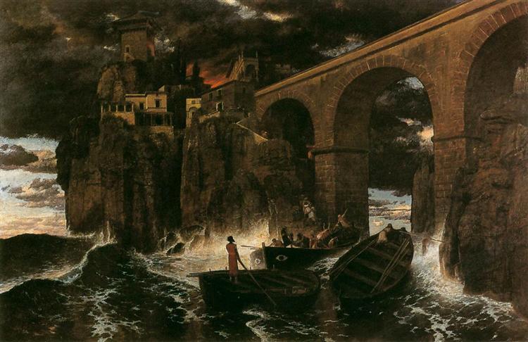 Attack by Pirates, c.1880 - Arnold Böcklin