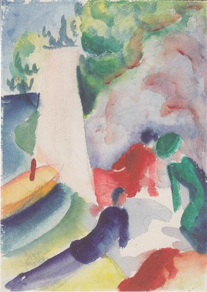Picnic on the beach, 1913 - August Macke