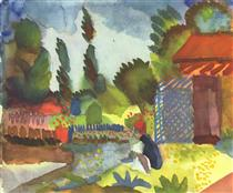Tunis landscape with a sedentary Arabs - August Macke