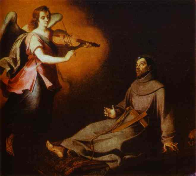 Murillo, Vision to St. Francis dans immagini sacre vision-to-st-francis-1646