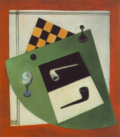 Still-life with Chessboard and Pipe, 1920 - Bela Kadar