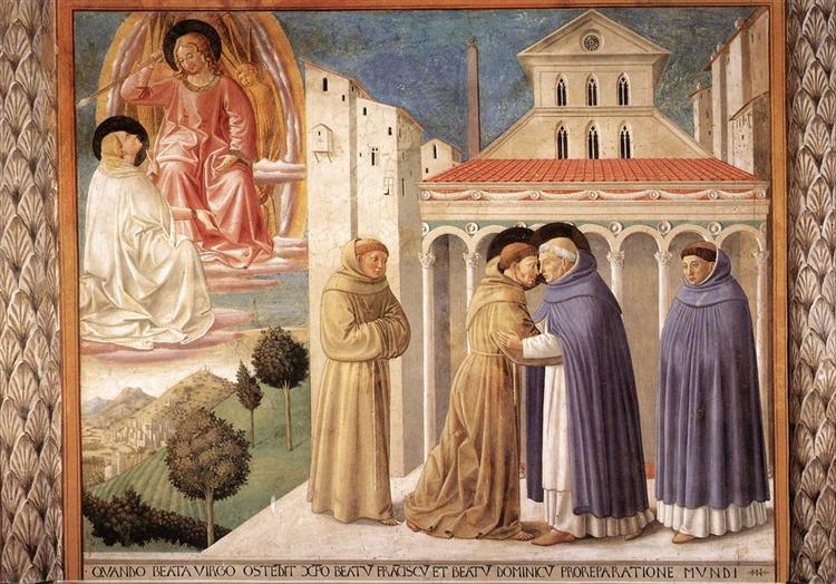 Vision of St. Dominic and Meeting of St. Francis and St. Dominic, 1452 - Benozzo Gozzoli
