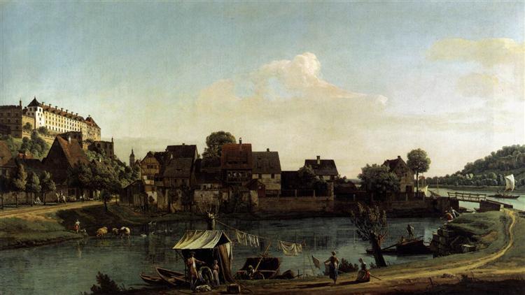 Pirna Seen from the Harbour Town, c.1754 - Bernardo Bellotto