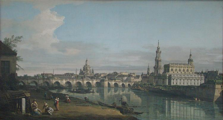 View of Dresden from the Right Bank of the Elbe with Augustus Bridge, c.1750 - Bernardo Bellotto