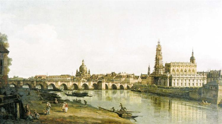 View of Dresden from the Right Bank of the Elbe with the Augustus Bridge, 1748 - Бернардо Беллотто