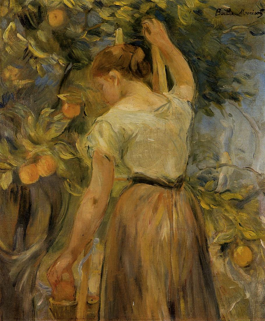 Young Woman Picking Oranges, 1889 - Berthe Morisot ...