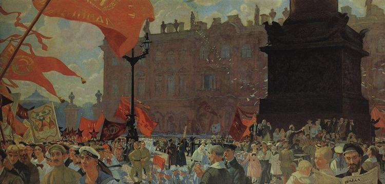 Festivities Marking the Opening of the Second Congress of the Comintern and Demonstration on Uritsky (Palace) Square in Petrograd on July 19th 1920, 1921 - Boris Kustodiev