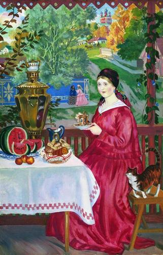 Merchant's wife on the balcony - Boris Kustodiev