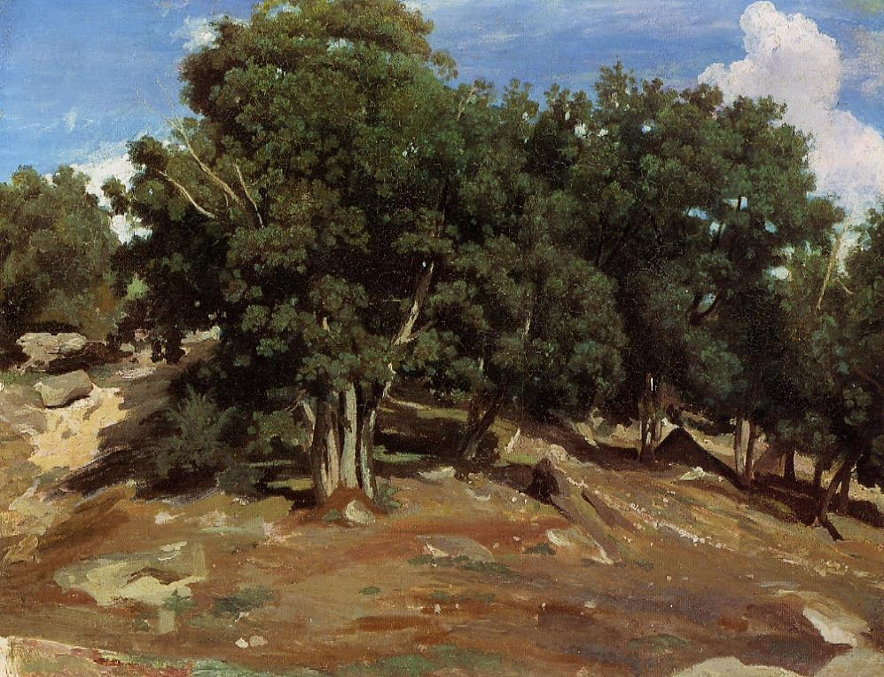 Fontainebleau black oaks of bas breau camille corot for Camille corot