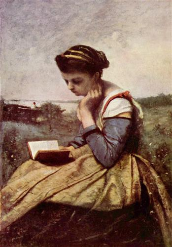 Woman Reading in a Landscape - Camille Corot