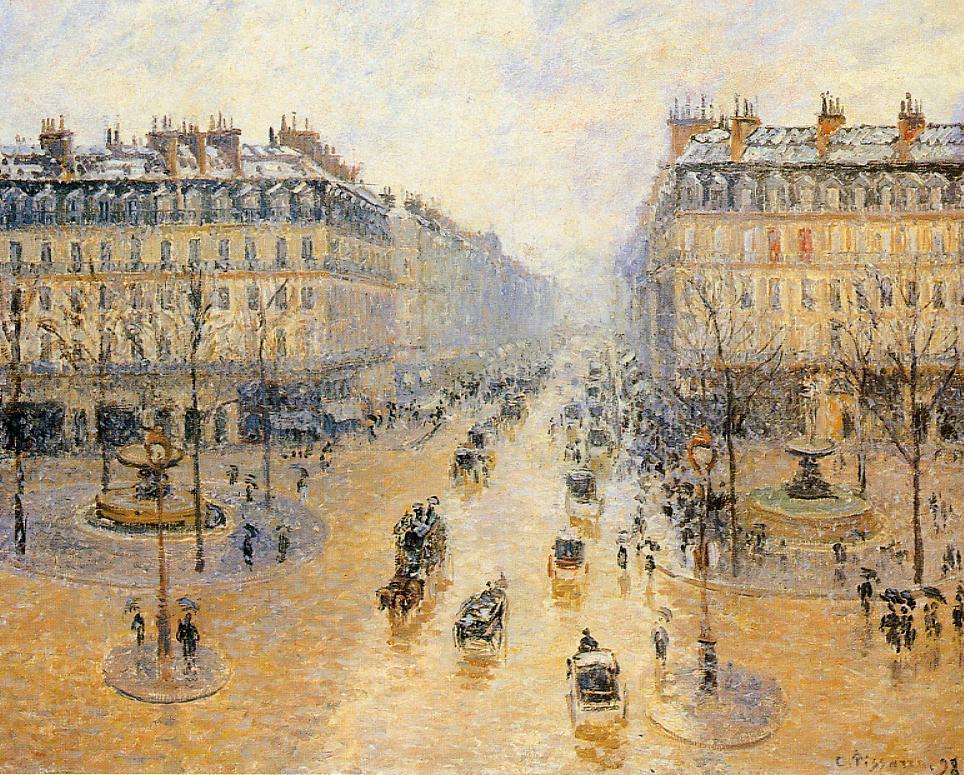 Avenue de l 39 opera snow effect 1899 camille pissarro for Camille pissarro oeuvre