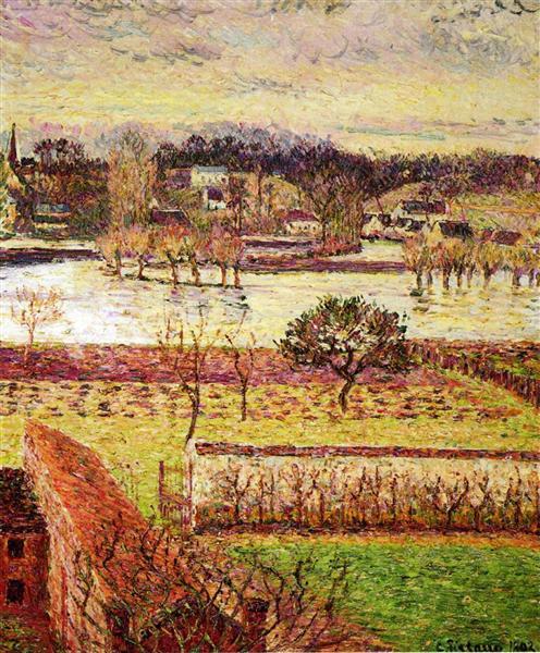 Flood, Twilight Effect, Eragny, 1893 - Camille Pissarro