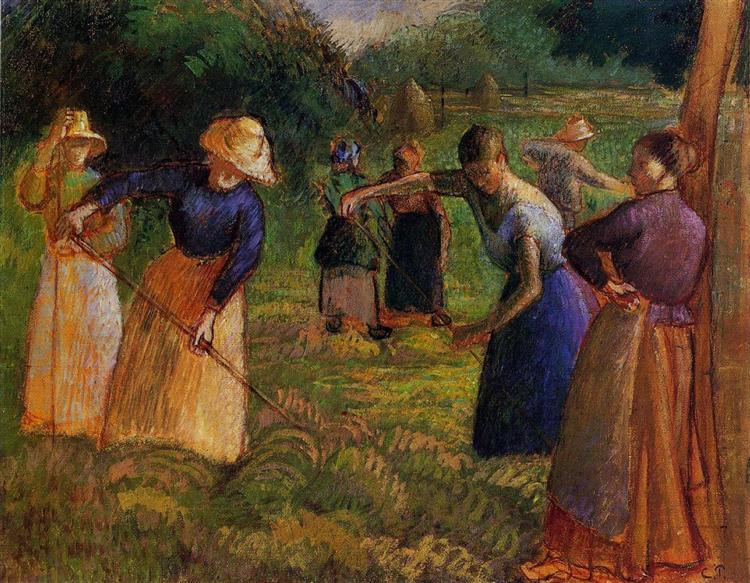 Haymaking in Eragny, 1901 - Camille Pissarro