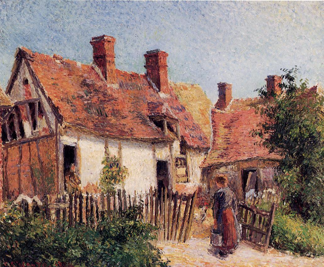 Old houses at eragny 1884 camille pissarro for Oil paintings of houses