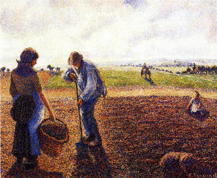 Peasants in the Field, Eragny, 1890 - Camille Pissarro ...