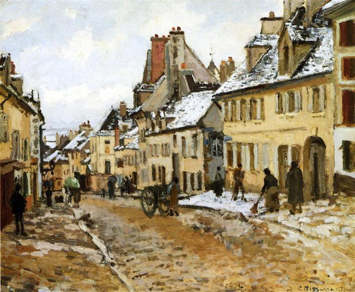 Pontoise, the Road to Gisors in Winter, 1873 - Камиль Писсарро