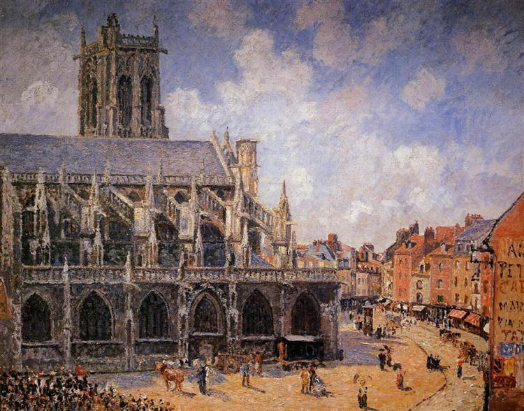 The Church of St Jacques in Dieppe, Morning Sun, 1901 - Камиль Писсарро