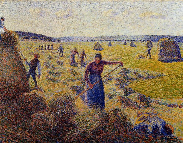 The Harvest of Hay in Eragny, 1887 - Камиль Писсарро