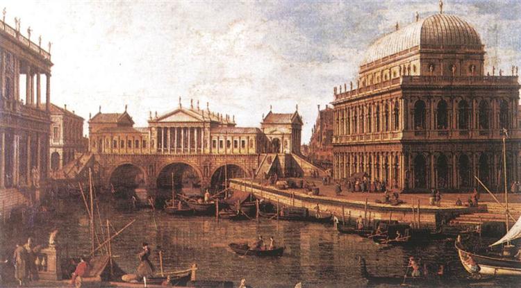 Capriccio : une architecture palladienne pour le pont du Rialto, avec des bâtiments de Vicence, c.1745 - Canaletto