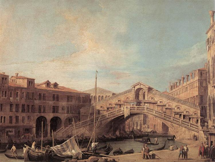 Grand Canal. The Rialto Bridge from the South., 1727 - Canaletto