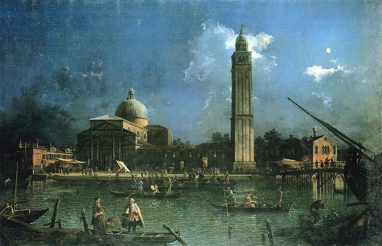 Night time Celebration Outside the Church of San Pietro di Castello - Canaletto
