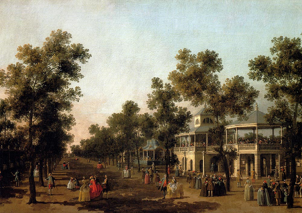 Garden Walk Dining: View Of The Grand Walk, Vauxhall Gardens, With The