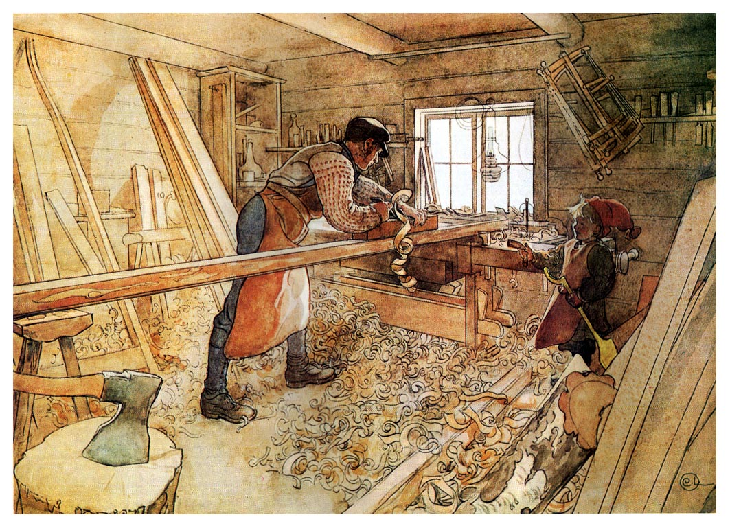 in the carpenter shop 1905 carl larsson wikiart org