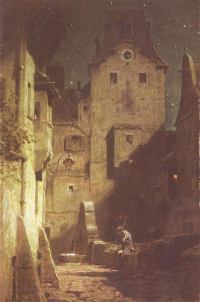 The night watchman has fallen asleep, c.1875 - Carl Spitzweg
