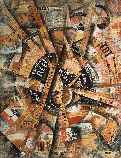 Interventionist Demonstration (Patriotic Holiday-Freeword Painting) 1914, 1914 - Carlo Carrà