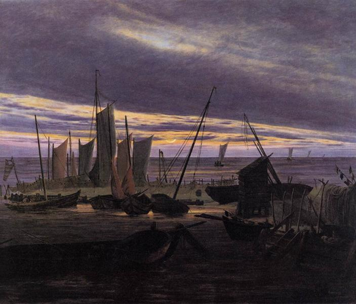 Boats in the Harbour at Evening, 1828 - Caspar David Friedrich