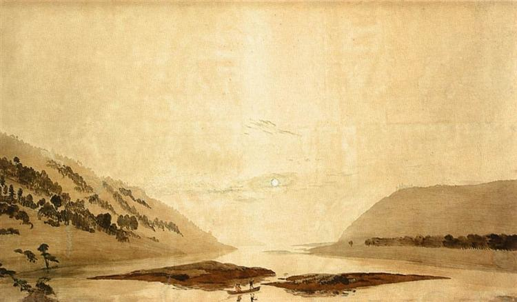 Mountainous River Landscape, 1830 - Caspar David Friedrich