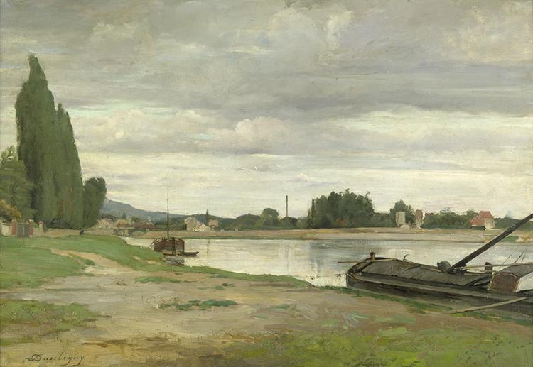 River landscape with barge moored - Charles-Francois Daubigny