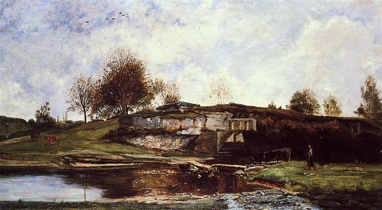 Sluice in the Optevoz Valley, 1854 - Charles-Francois Daubigny