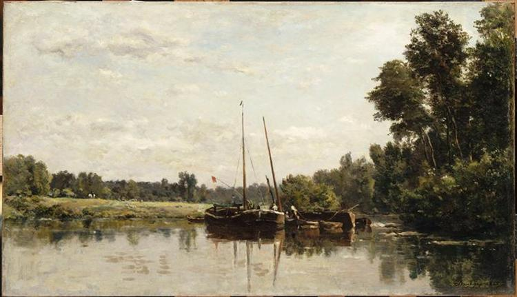The barges, 1865 - Charles-Francois Daubigny