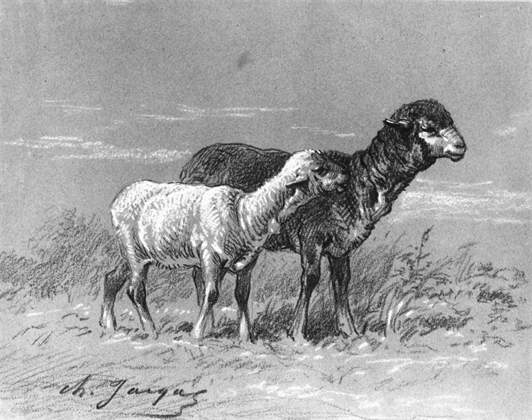 Ewe and Lamb - Charles Jacque