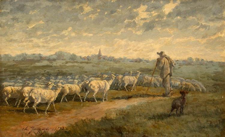 Landscape with a Herd, 1872 - Charles Jacque