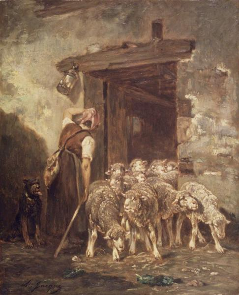 Leaving the Sheep Pen - Charles Jacque