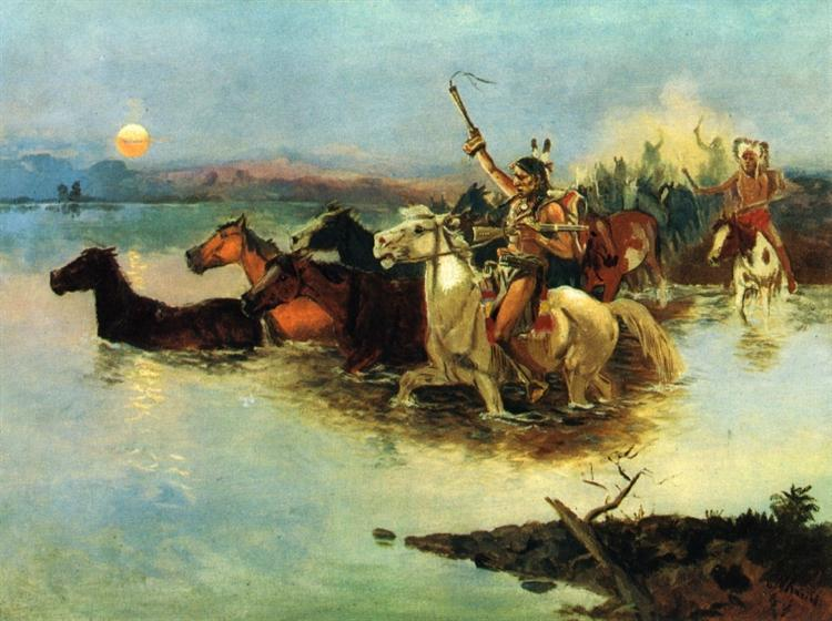 Crossing the Range, 1890 - Charles M. Russell