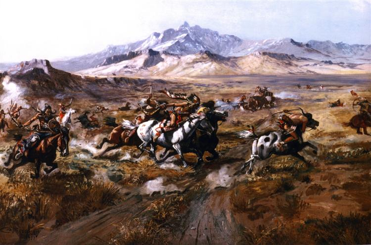 Stage Coach Attack, 1899 - Charles M. Russell