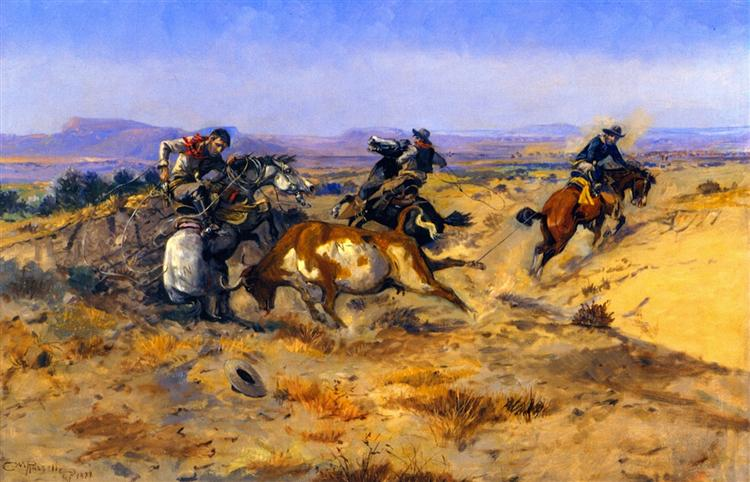 When Cowboys Get in Trouble, 1905 - Charles M. Russell
