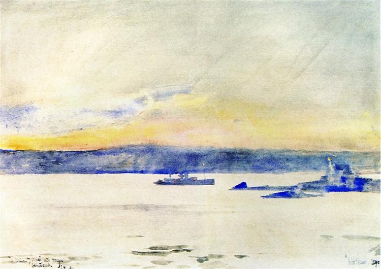 Afterglow, Gloucester Harbor (aka Ten Pound Island LIght), 1890 - Childe Hassam