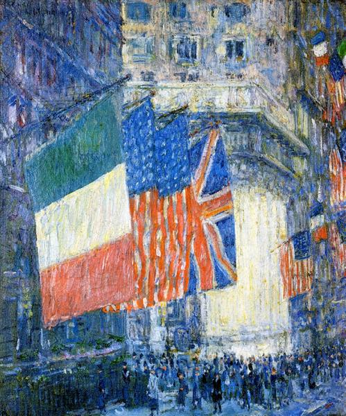 Avenue of the Allies (aka Flags on the Waldorf), 1917 - Childe Hassam