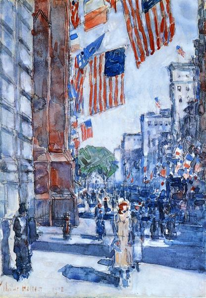 Flags, Fifth Avenue, 1918 - Childe Hassam