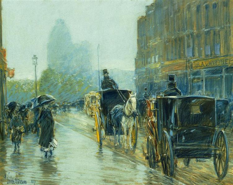 Horse Drawn Cabs at Evening, New York - Childe Hassam