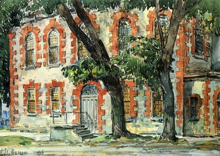 Old Dutch Building, Fishkill, New York, 1916 - Childe Hassam