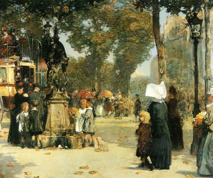 Paris Street Scene, 1887 - Childe Hassam