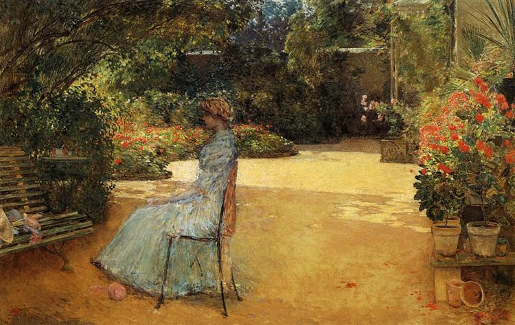 The Artist's Wife in a Garden, Villiers-le-Bel, 1889 - Childe Hassam