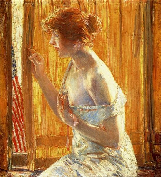 The Flag Outside Her Window, April (aka Boys Marching By), 1918 - Childe Hassam