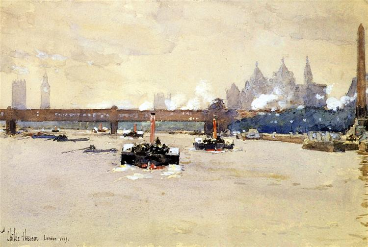 View of the Thames, 1889 - Childe Hassam
